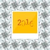 2016 in den polaroid sofortigen Fotorahmen auf abstraktem Hintergrund Lizenzfreies Stockfoto