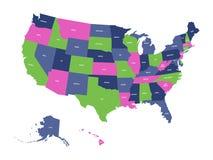 Den politiska översikten av USA, Amerikas förenta stater, i fyra färger med vittillståndet namnger etiketter på vit bakgrund vekt stock illustrationer