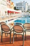 Den populära semesterorten Amara Dolce Vita Luxury Hotel Med tips och vatten parkerar och fritids- område längs havskusten Royaltyfri Fotografi