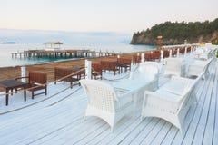 Den populära semesterorten med tips och vatten parkerar och fritids- område längs havskusten Amara Dolce Vita Luxury Hotel Royaltyfri Foto