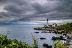 Den Portland huvudfyren i udde Elizabeth, Maine royaltyfria foton