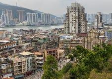 Den portugisiska arkitekturen av den gamla staden Macao, Kina fotografering för bildbyråer