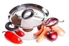 Den Potenziometer und Gemüse kochen getrennt auf Weiß lizenzfreies stockfoto