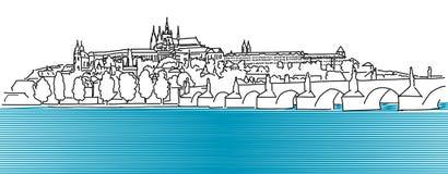 Den Prague Hradschin vektoröversikten skissar Royaltyfria Bilder