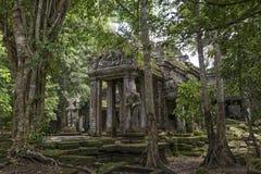 Den Preah Kahn templet arkeologiska Angkor parkerar, Cambodja Arkivbild