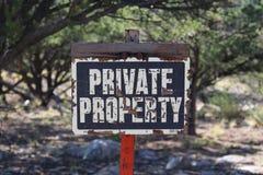 Den privata egenskapen undertecknar Arkivfoton