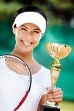 Den Professional tennisspelaren segrade konkurrensen Royaltyfria Foton