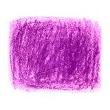 Den purpurfärgade färgpennan klottrar texturfläck som isoleras på vit bakgrund Arkivfoto
