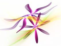 Den purpurfärgade fractalen blommar med gräsplan, krabb bakgrund för guling Arkivbild