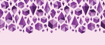 Den purpurfärgade geometriska juveln formar horisontalsömlöst Royaltyfria Bilder