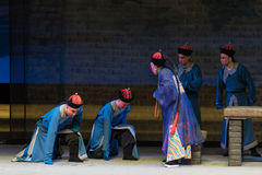 """Den Qing Dynasty knäfalla-Shanxi Operatic""""Fu shanen till Beijing† Royaltyfri Fotografi"""