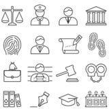 Den rättvisa-, lag-, advokat- och domstolsymbolen ställde in royaltyfri illustrationer