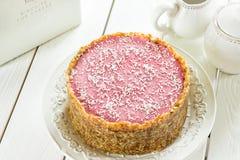 Den rå strikt vegetarian Paleo bantar Berry Cheesecake Gluten-Free med data och kasjuer på en ljus vit träbakgrund Royaltyfria Bilder