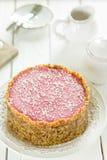 Den rå strikt vegetarian Paleo bantar Berry Cheesecake Gluten-Free med data och kasjuer på en ljus vit träbakgrund Royaltyfria Foton