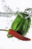 Den röd chilien och paprika tappade in i vatten Arkivfoton