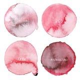 Den röda akvarellcirkeln ställde in på vit bakgrund, vattenfärglogo vektor illustrationer