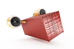 Den röda behållaren utför snabb leverans på en vit bakgrund Royaltyfri Fotografi