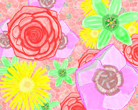 Den röda bitmapen, gult, lila, gräsplan blommar Arkivfoton
