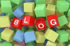 Den röda bloggen skära i tärningar i högen av Multicolour kuber framförande 3d stock illustrationer