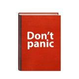 Den röda boken med gör panikslagen inte text på den isolerade räkningen Royaltyfri Bild