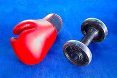 Den röda boxninghandsken och gamla hantlar på blått övar mattt Royaltyfria Bilder