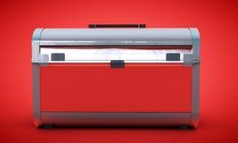 Den röda bröstkorgen tom 3d framför på lutningbakgrund Arkivfoton