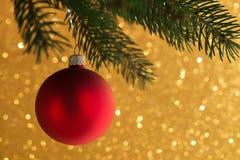 Den röda dekorativa bollen på xmas-trädet blänker på bokehbakgrund Glad julkort Fotografering för Bildbyråer