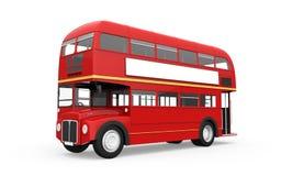 Den röda dubbla däckaren bussar isolerat på vitbakgrund royaltyfria foton