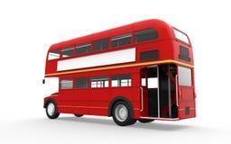 Den röda dubbla däckaren bussar isolerat på vitbakgrund royaltyfri foto