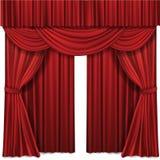 Den röda etappen hänger upp gardiner den realistiska vektorillustrationen för teater- eller operaplatskapacitet vektor illustrationer