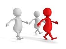 Den röda för ledarelaget för begreppet 3d gruppen går framåt framgångframtid Royaltyfri Foto