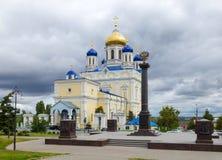 Den röda fyrkanten, uppstigningdomkyrkan och minnesmärken undertecknar Royaltyfria Foton