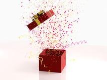 Den röda gåvaasken med den guld- pilbågen på vit bakgrund med garnering och mousserar partikonfettier, banderoller Festligt eller royaltyfri bild