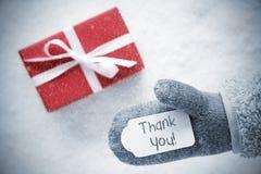 Den röda gåvan, handsken, text tackar dig, snöflingor Royaltyfria Bilder