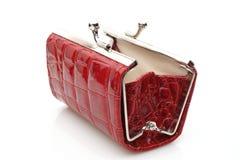 Öppna den röda handväskan Arkivfoto