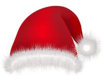 Den röda hatten Santa Claus på vit bakgrundsjul semestrar maskeringsdress Arkivfoto