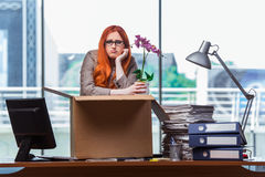 Den röda head kvinnan som flyttar sig till det nya kontoret som packar hennes tillhörigheter Fotografering för Bildbyråer