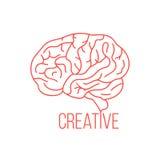 Den röda hjärnan gillar idérika idéer royaltyfri illustrationer