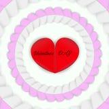 Den röda hjärtan omges av rosa och vita hjärtor stock illustrationer