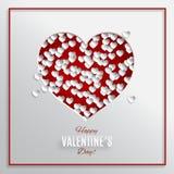 Den röda hjärtavektorillustrationen på vit bakgrund med ramen för kort för hälsning för dag för valentin` s, skyler över brister  stock illustrationer