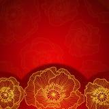 Den röda inbjudanramen med guld snör åt vallmo vektor illustrationer