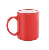 Den röda kaffekoppen eller rånar isolerat Arkivbilder