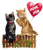 Den röda kattungen ger hjärtaballongen royaltyfria bilder