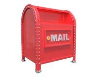 Den röda klassiska brevlådan 3D framför på vit bakgrund med Royaltyfri Bild