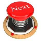 Den röda knappen, det nästa, begrepp 3d Royaltyfria Bilder