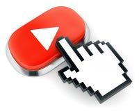 Den röda knappen och handen för rengöringsdukvideospelare formade markören Royaltyfri Bild