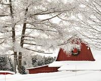 Den röda ladugården med snö täckte träd i vinter arkivfoton