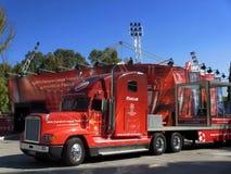 Den röda lastbilen av Uefaen kämpar för ligatrofén Royaltyfria Foton