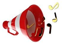 Den röda megafonen med musik noterar den isolerade illustrationen 3d Royaltyfria Foton