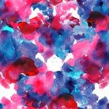 Den röda och blåa sömlösa modellvattenfärgen bläckar ner på vit bakgrund Royaltyfria Bilder